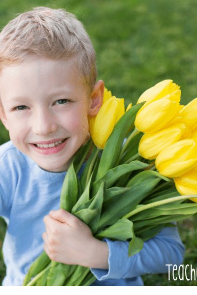 boy with flowers