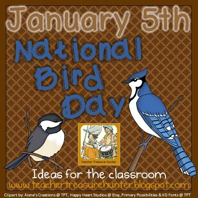 January Calendar Days & National Bird Day freebies